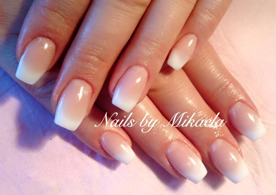 ombre pink and white sculptured acrylics nails by mikaela