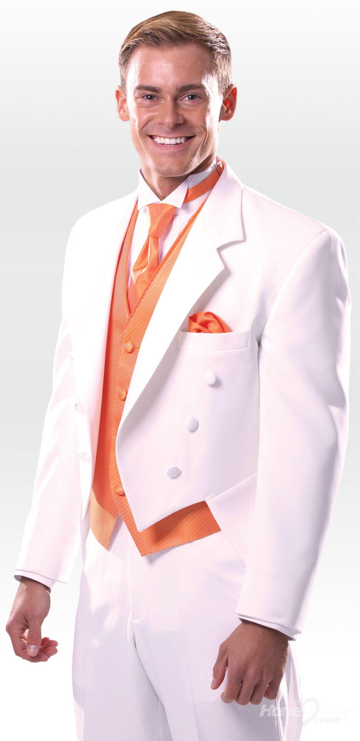 White Tail Coat Tuxedo White prom suits for men