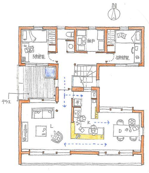 キッチンは司令塔 家の設計図 フロアプラン 家の間取り図