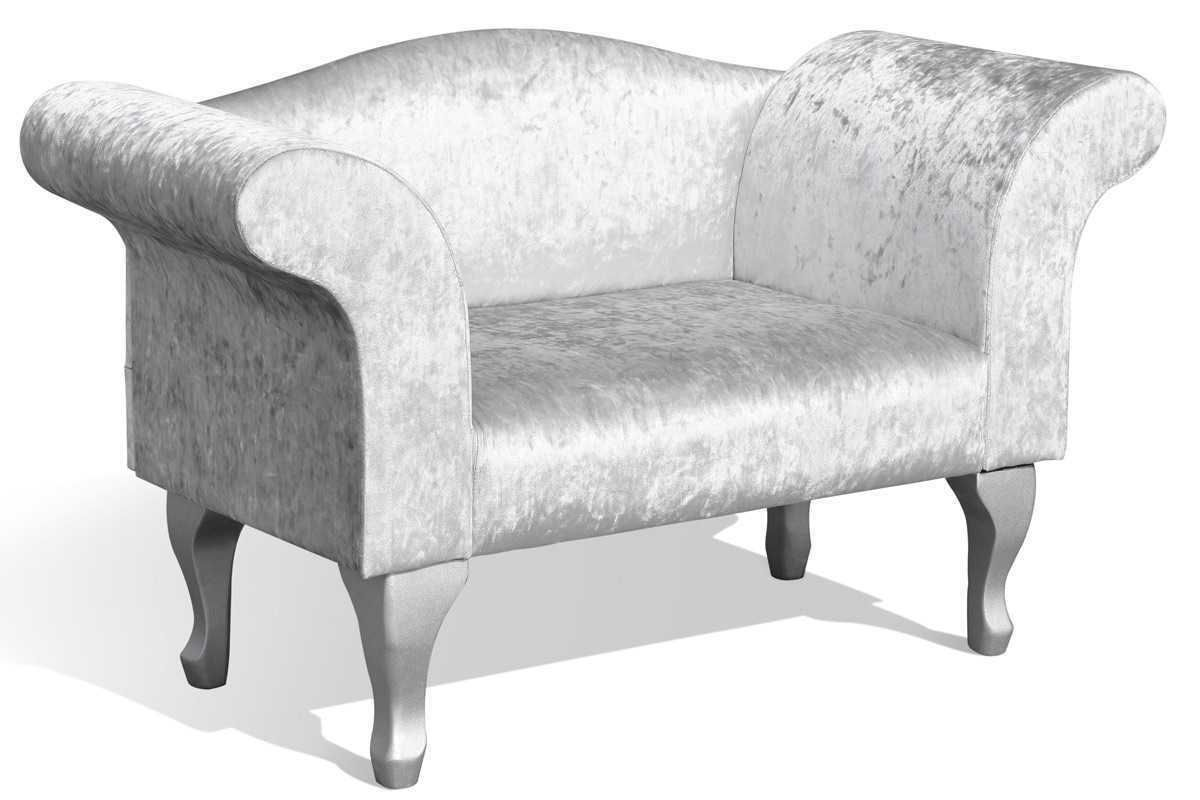 Silver Crushed Velvet Bedroom Chaise Longue Chair