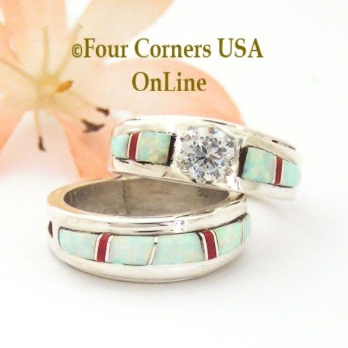 Size 5 White Fire Opal And Coral Engagement Bridal Wedding Ring Set Native American Wilbert Muskett
