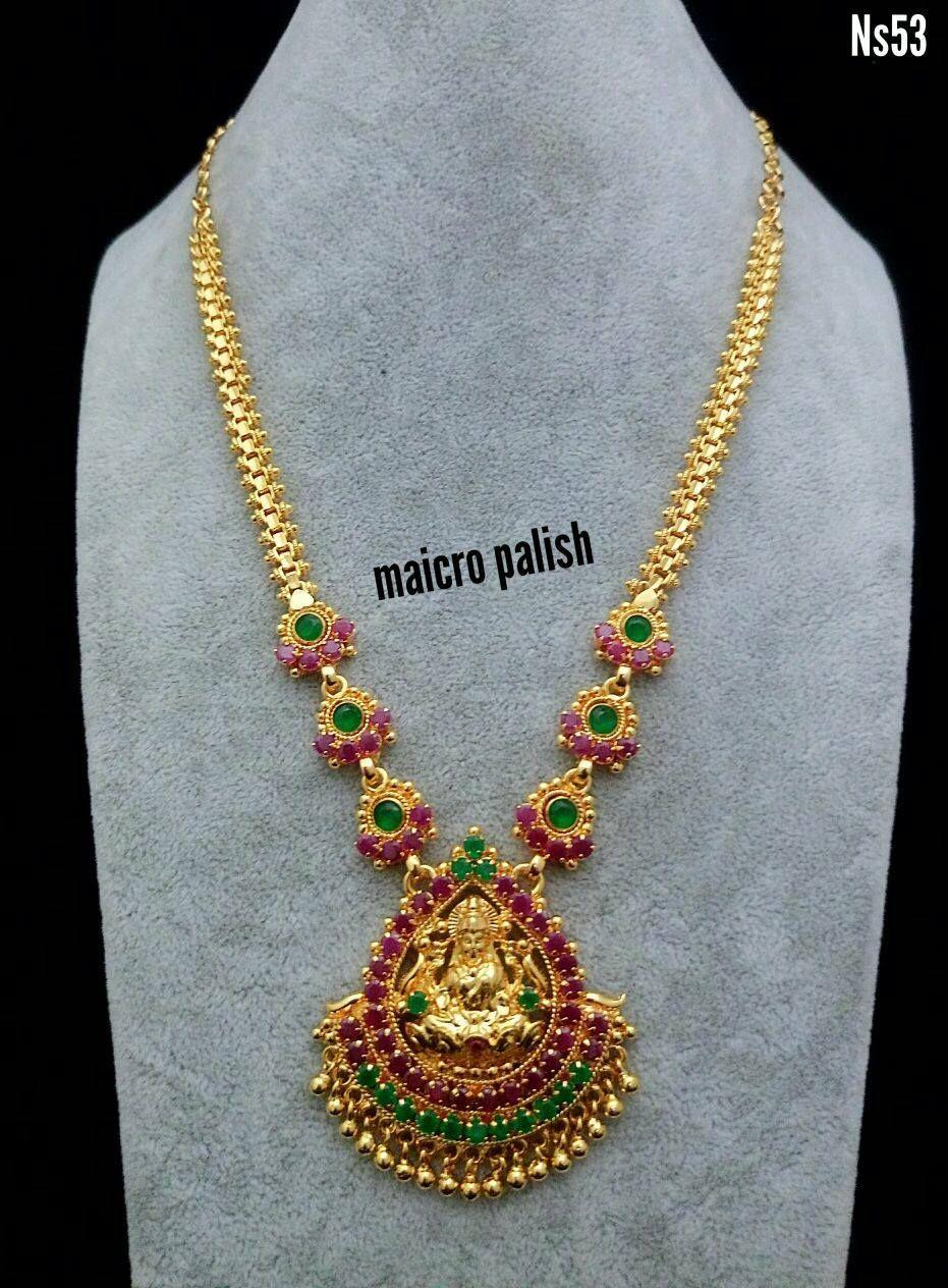 Beautiful maicro finish long chain with lakshmi devi pendant