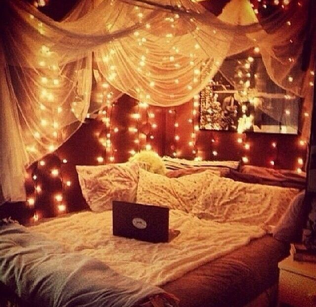 Fairy Lights (Small White / Clear Christmas String Lights) Tucked In Drapes | DIY Canopy Bed | Teen Bedroom Ideas | Hipster Dorm | Feminine Room