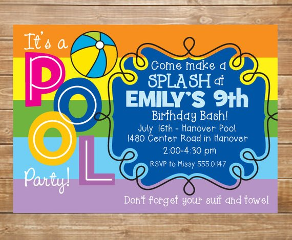 pool birthday party invitation girls swimming party water party