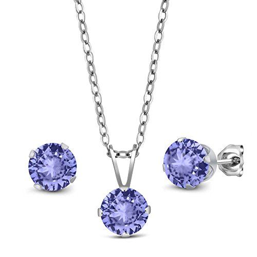 270 Ct Blue Tanzanite Aaaa 925 Sterling Silver Pendant Earrings Set With Chain