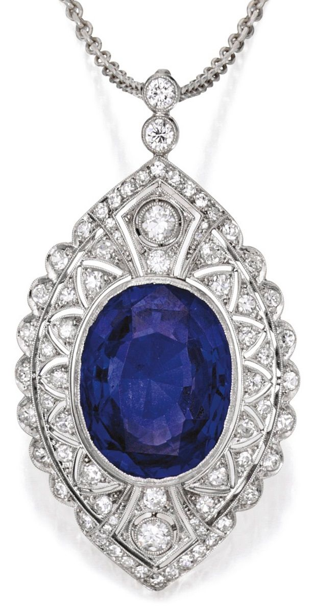 A Edwardian Platinum, Sapphire and Diamond Pendant-Necklace, Circa 1910. Of…