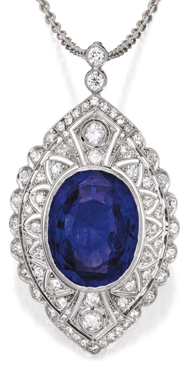 A Edwardian Platinum, Sapphire and Diamond Pendant-Necklace, Circa 1910. Of…