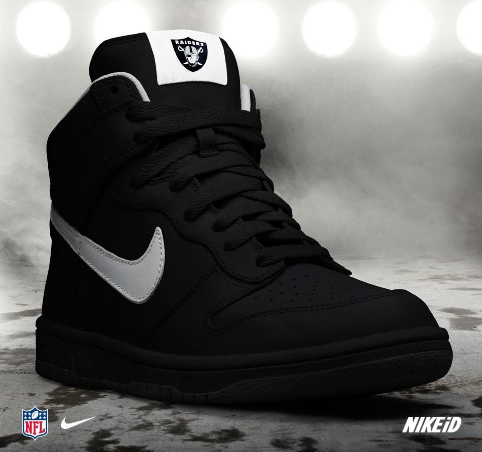 big sale e7812 f53e2 Custom Oakland Raiders Nike Turbo Shox Team Shoes – JNL Apparel   Da  Raiders   Pinterest