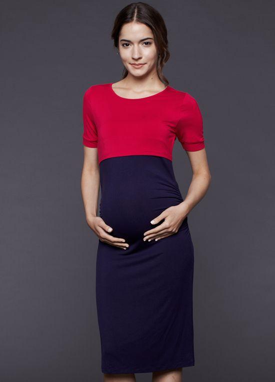 2bae58f63db Queen Bee Mia Fuchsia Navy Maternity Nursing Dress by Dote Nursingwear