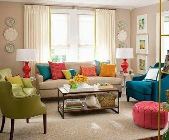 What A Color Combo :D. Colored 80u0027s Living Room