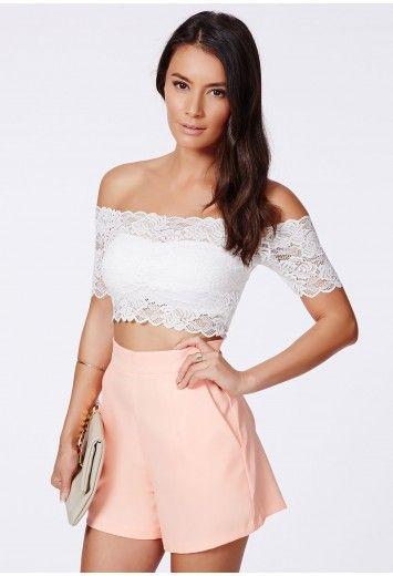 3e1ccab96b56a4 15 - Missguided - Telimesa White Bardot Lace Crop Top
