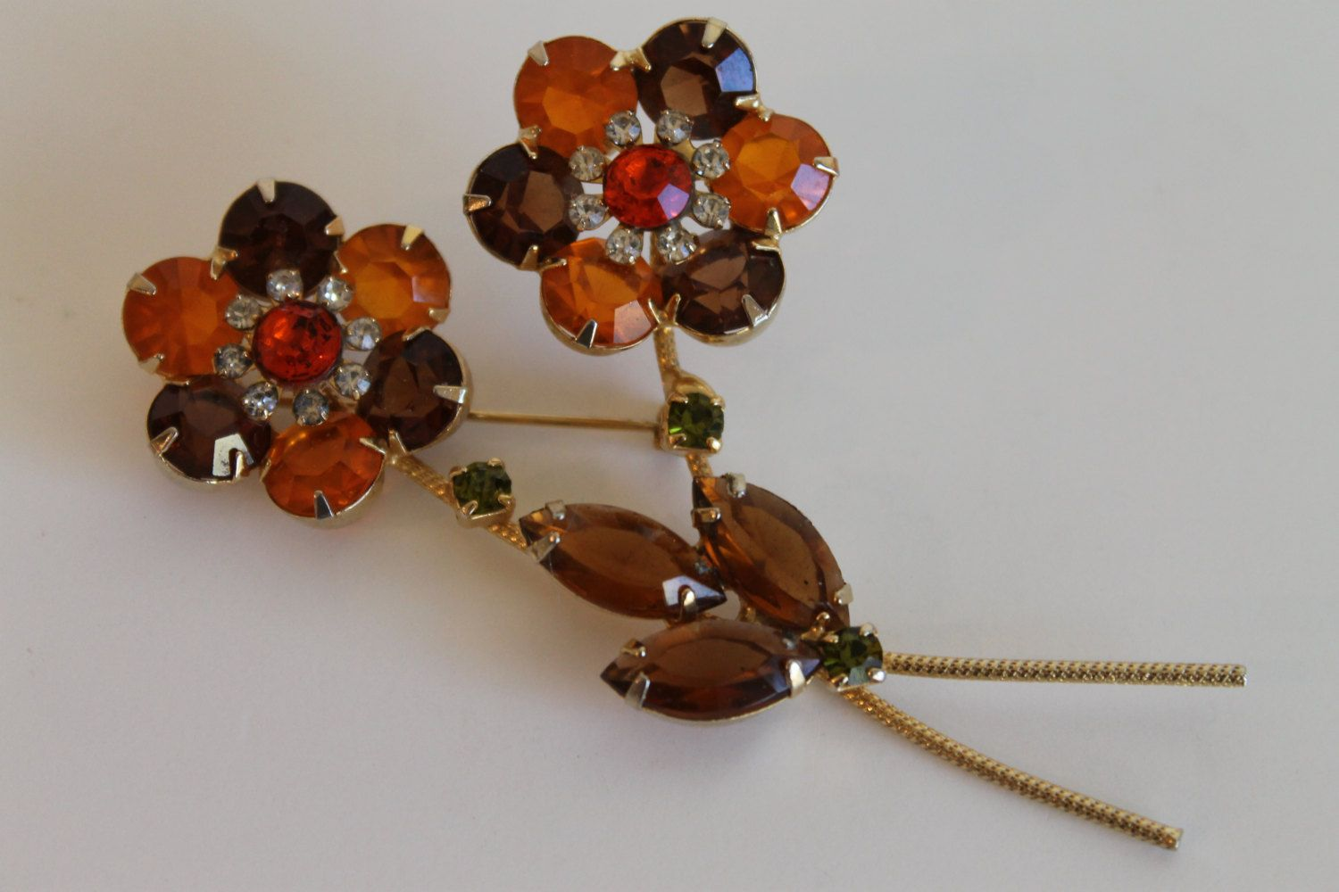 Vintage Gold Tone Orange and Amber Daisy Flower Rhinestone Pin Brooch by FunkieFrocks on Etsy