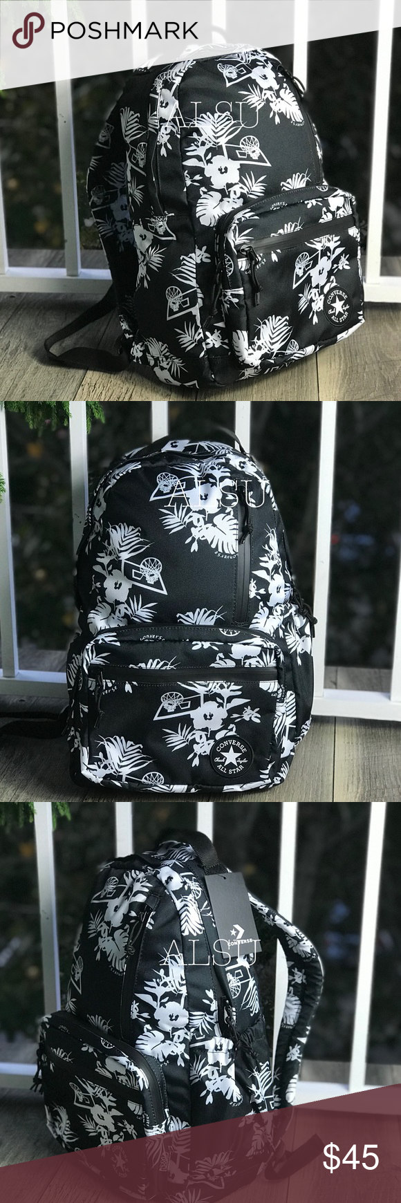 4dd6b86c01 NWT Converse Go Backpack Flowers Black White 💐 Brand new with tag. Price  is firm