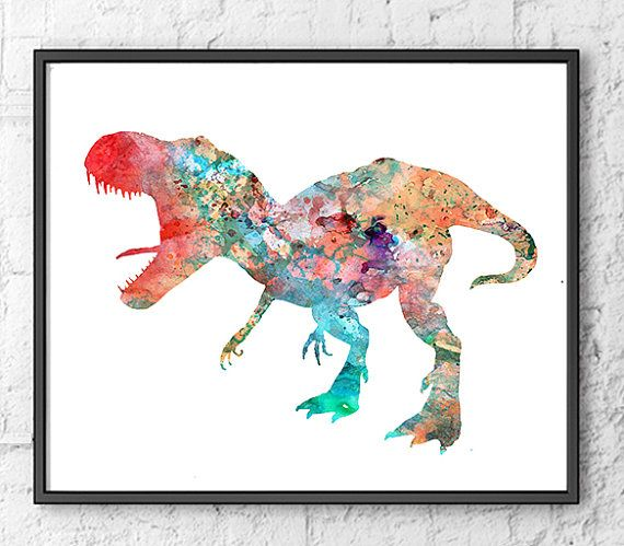 Items similar to Dinosaur Watercolor Print Watercolor painting Watercolor Kids Room Decor, Children's Art, Kids Art Print - 262 on Etsy