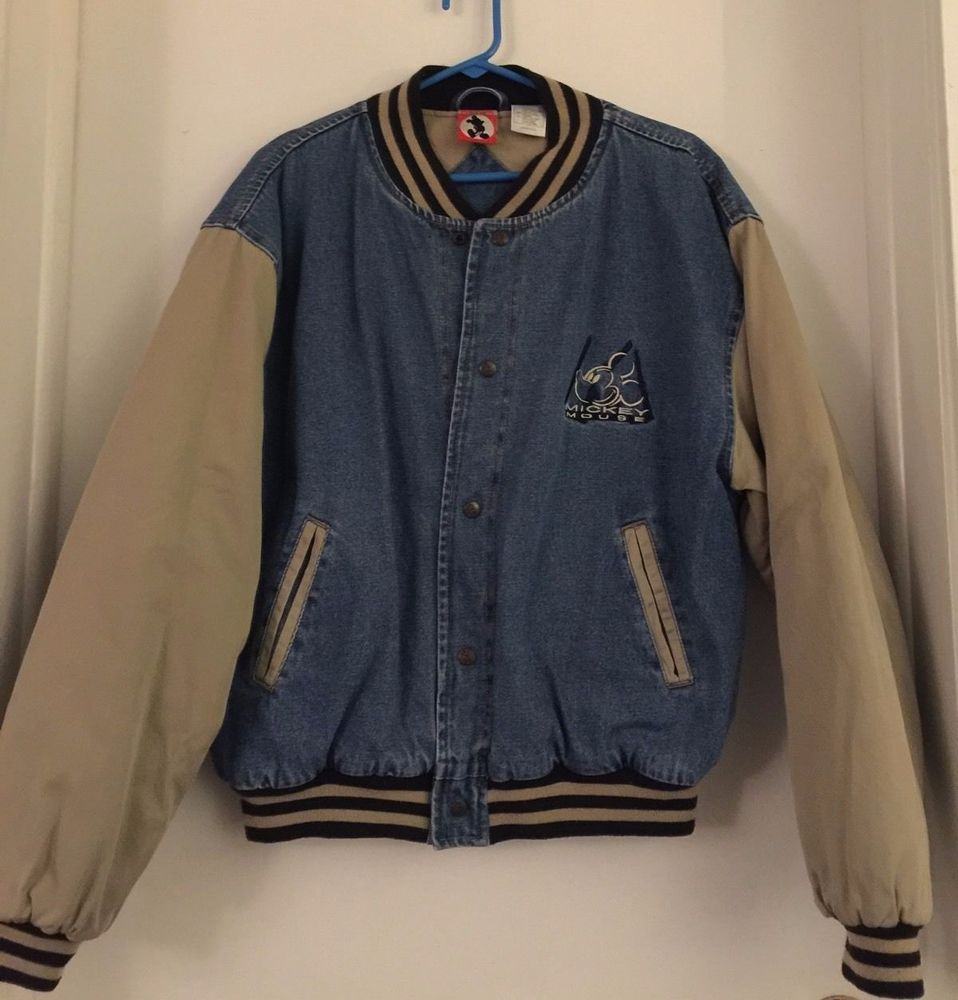 Vintage 1990s Walt Disney Mickey Mouse Denim Varsity Jean Jacket Size L Jackets Old School Jackets Jean Jacket