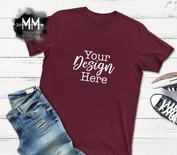 d6c8aa98 Maroon T-Shirt Mockup, Burgundy Shirt Flat Lay Display, Short Sleeve Maroon  T-shirt, Apparel Display