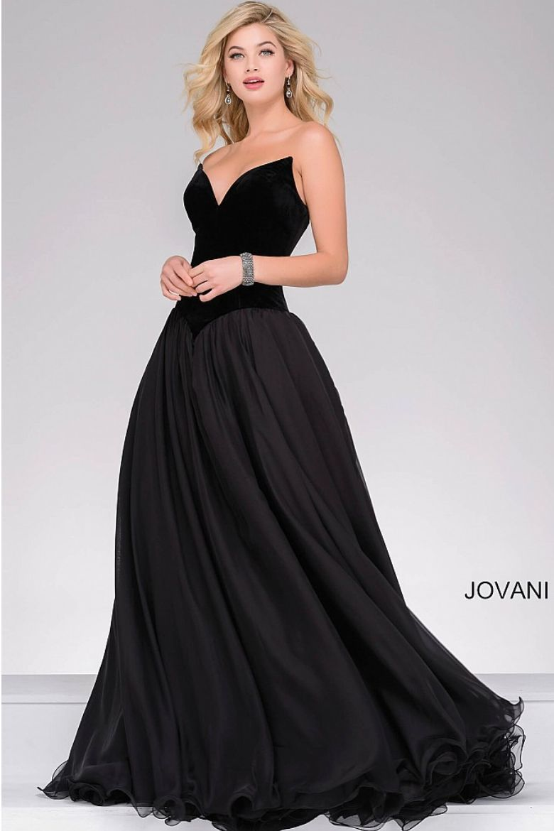 Jovani drop waist velvet bodice ball gown with gorgeous