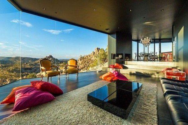 wohnideen designideen schwarz ledersofa tisch teppich home - moderne wohnzimmer teppiche