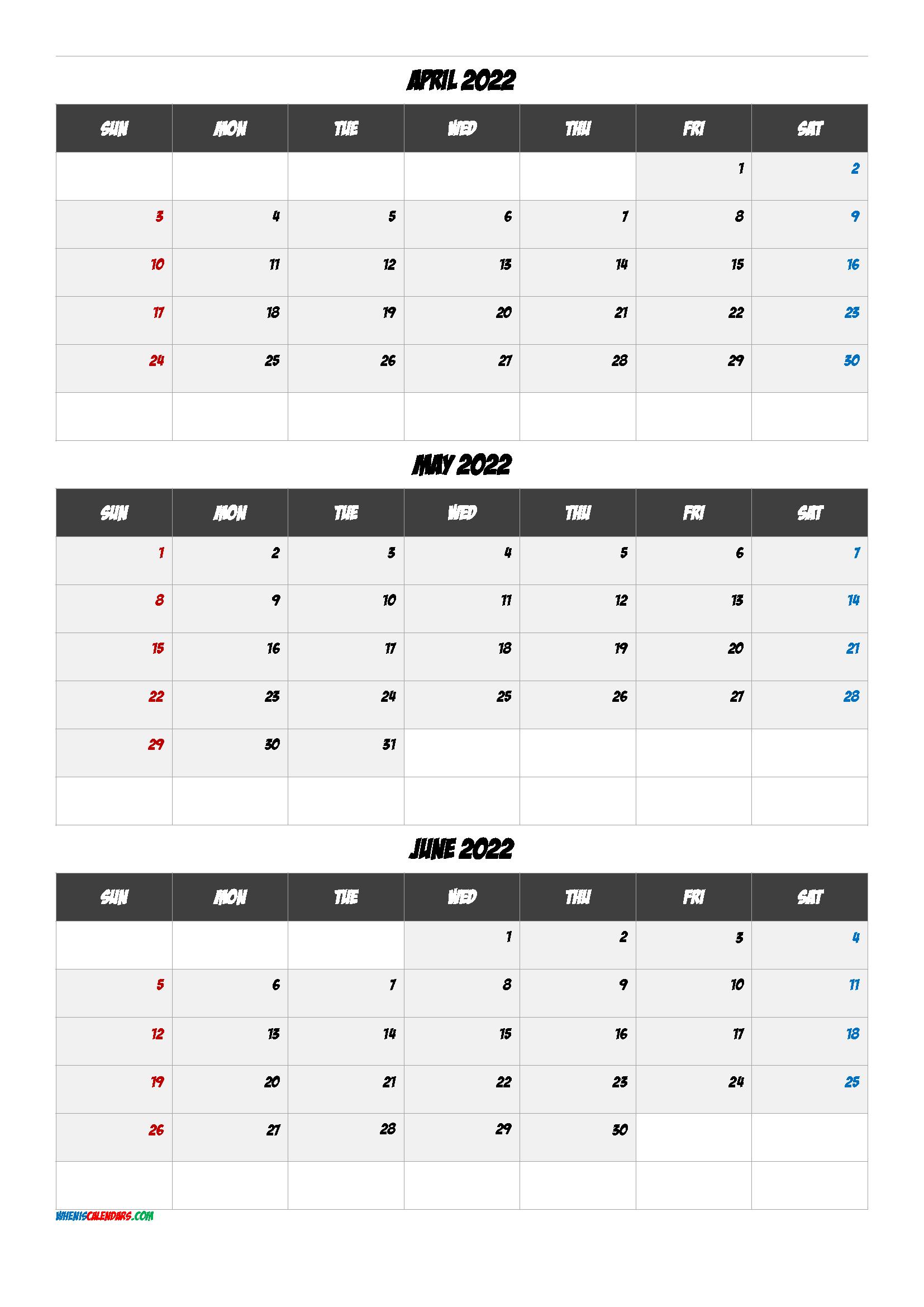 Calendar April May June 2022 Q1 Q2 Q3 Q4 In 2020 Calendar Printables January February March Calendar Template