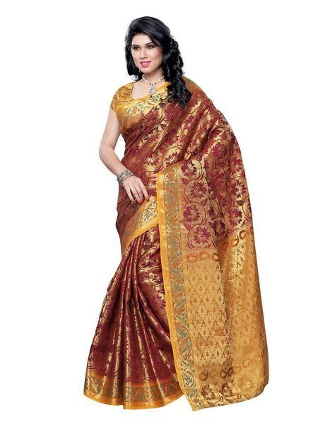 Maroon Art Silk Sarees Banarasi Silk Saree With Golden Border