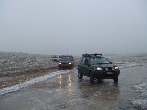 Land Rovers on ice