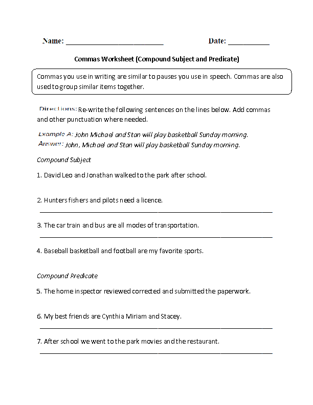 Compound Subject and Predicate Comma Worksheet Grades 68 – Comma Worksheets