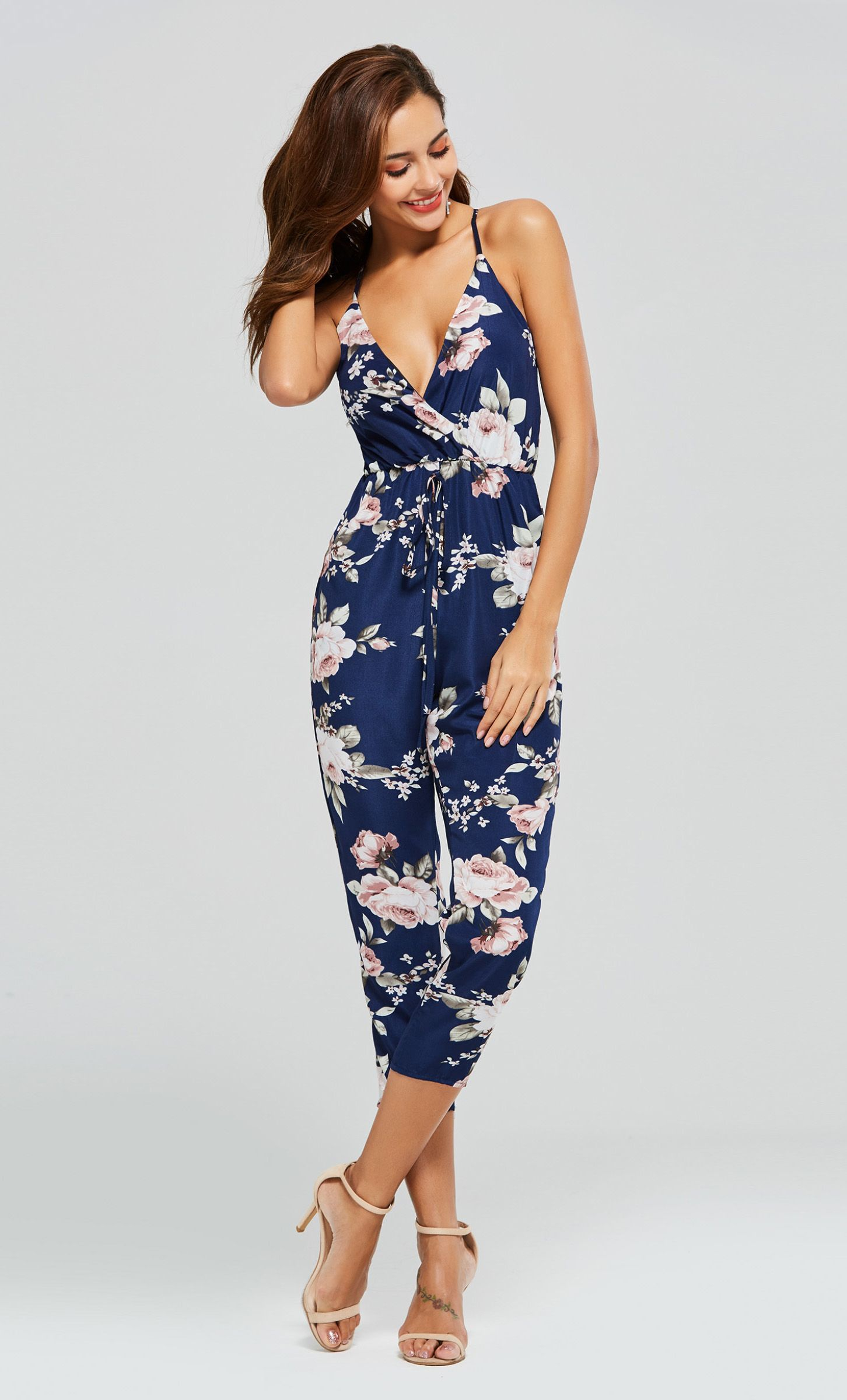 Floral Print Strap Pocket Lace Up Women S Jumpsuit In 2018 Tbdress