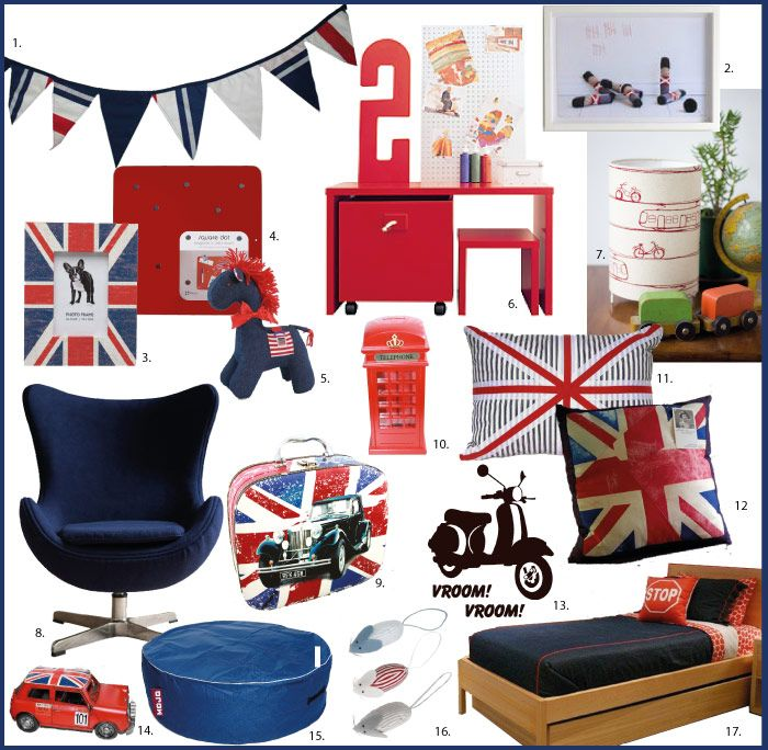 Red and blue british inspired boys collection nursery to for British themed bedroom ideas