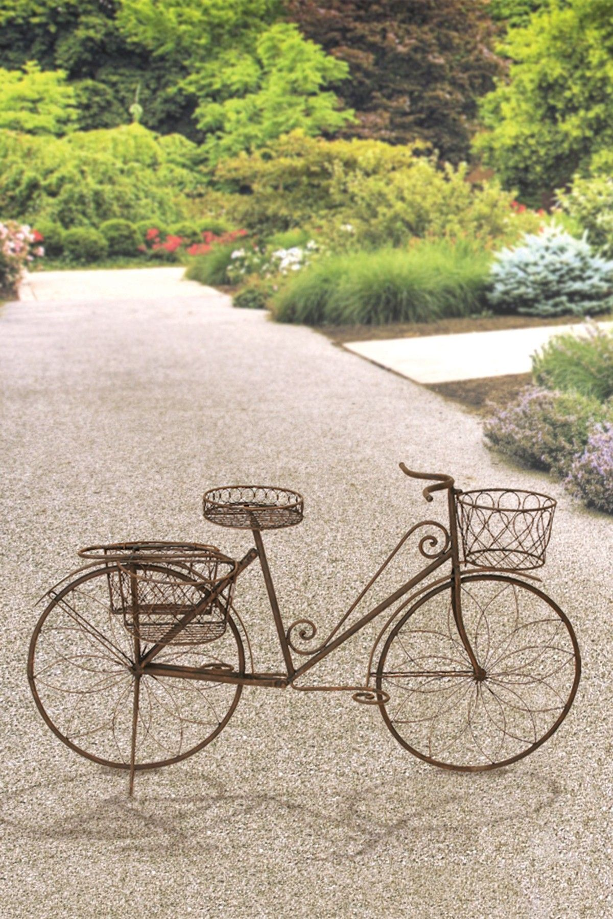 vintage bicycle planter brown 56