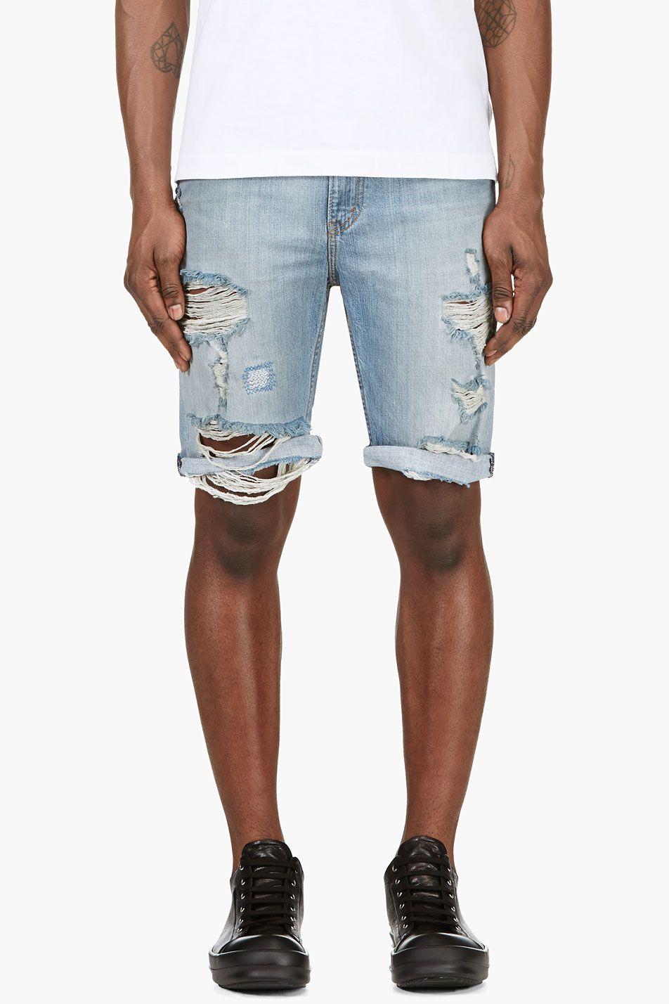 Black Jersey Shorts | Blue denim