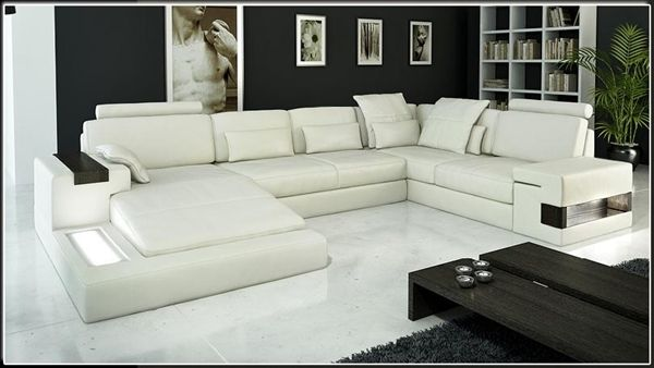 Modern Ivory Italian Design Leather Sectional Sofa Modern Sofa