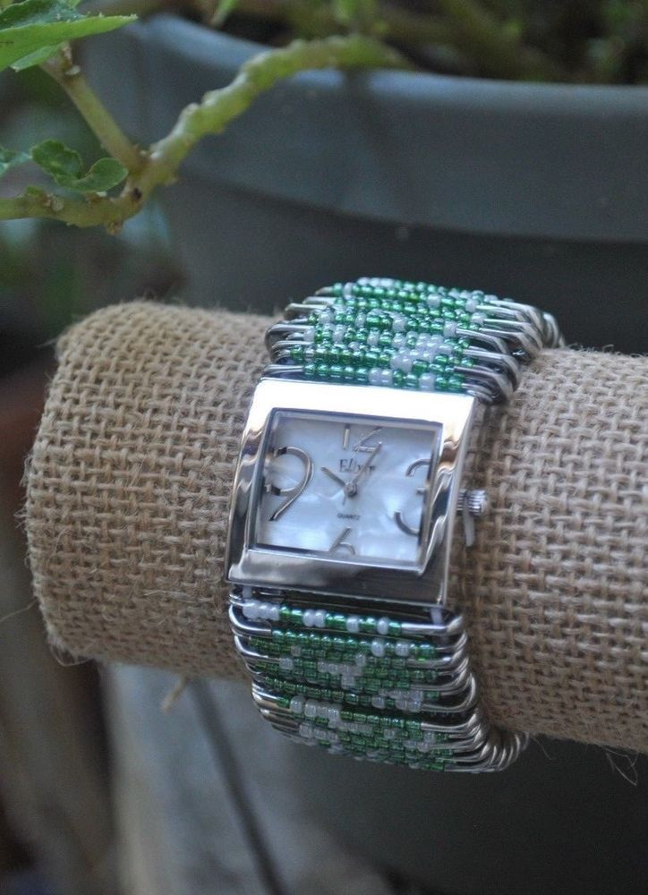 Safety Pin Beaded Fashion Watch 30mm Green eBay (With