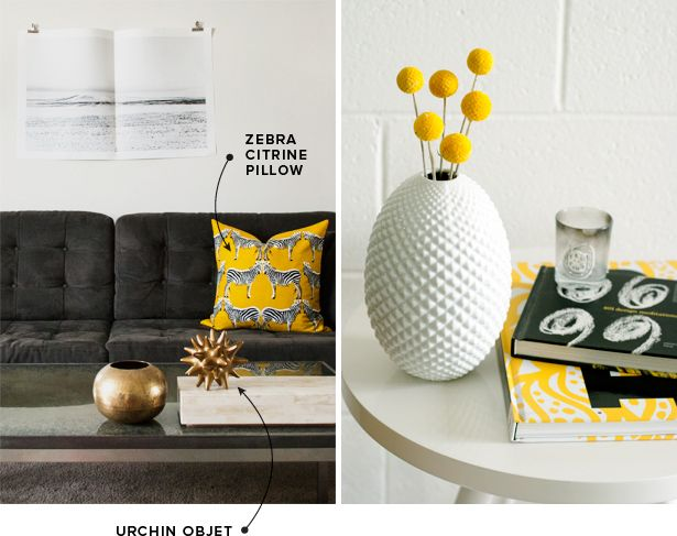 @DwellStudio's Zebra Citrine Pillow, Urchin Objet, and Diamond Cut Egg Vase black/white/yellow