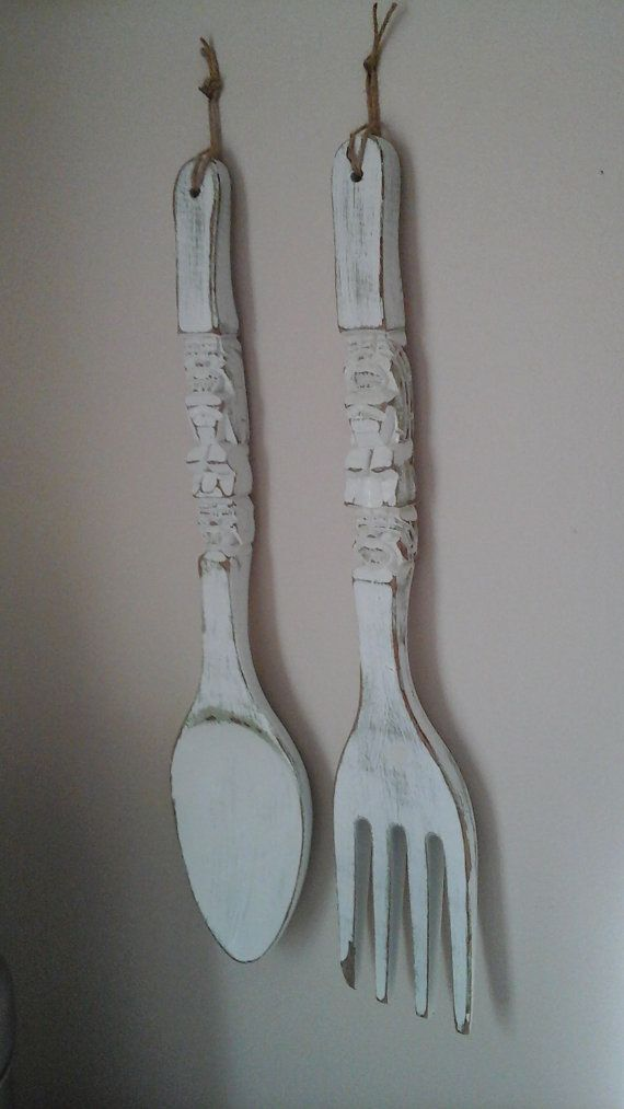 Giant Fork And Spoon White And Sage Green Distressed Wood Extra