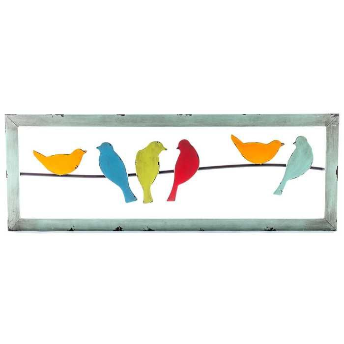 Colorful 6 Birds On A Wire Metal Wall Decor With Images Metal