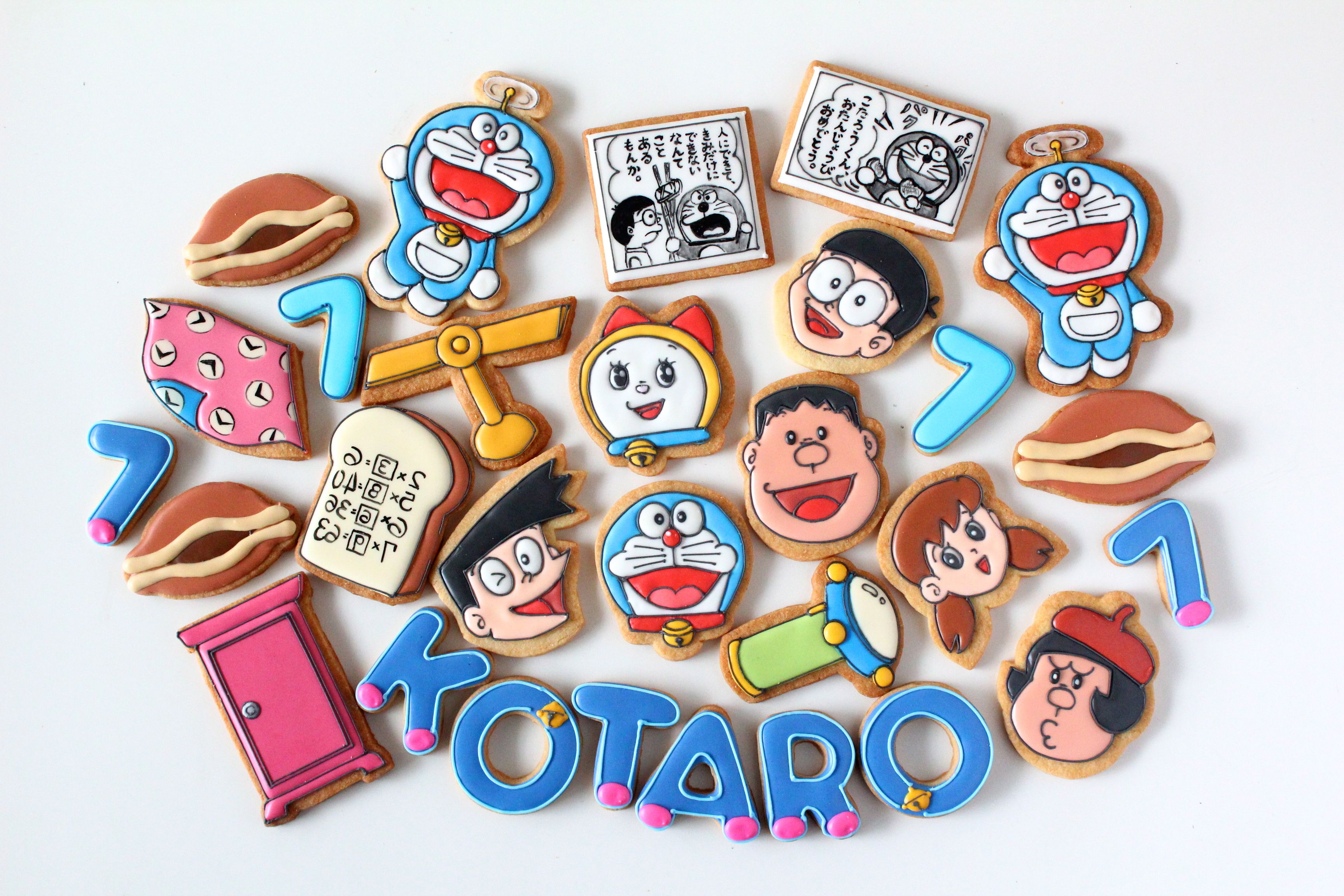 doraemon icing cookies ドラえもんのアイシングクッキー バースデークッキー 恐竜ケーキ デコレーションクッキー