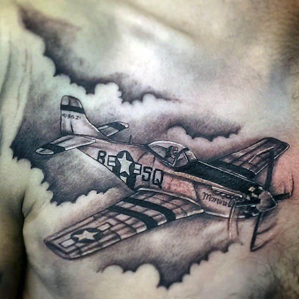 Guy With Airplane Chest Tattoo