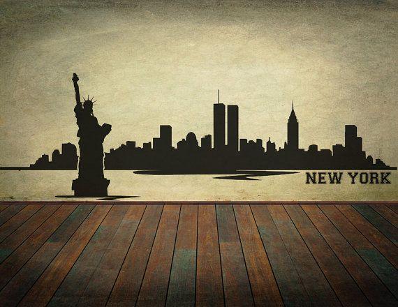 Nyc Skyline Wall Art Black Vinyl Wall Decal New York City Etsy Vinyl Wall Decals Wall Graphics City Skyline
