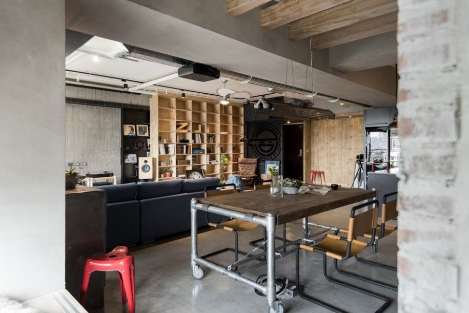 Industrial Apartment Interior Design Taiwan Cool Style Dining Table With Pipes As Its