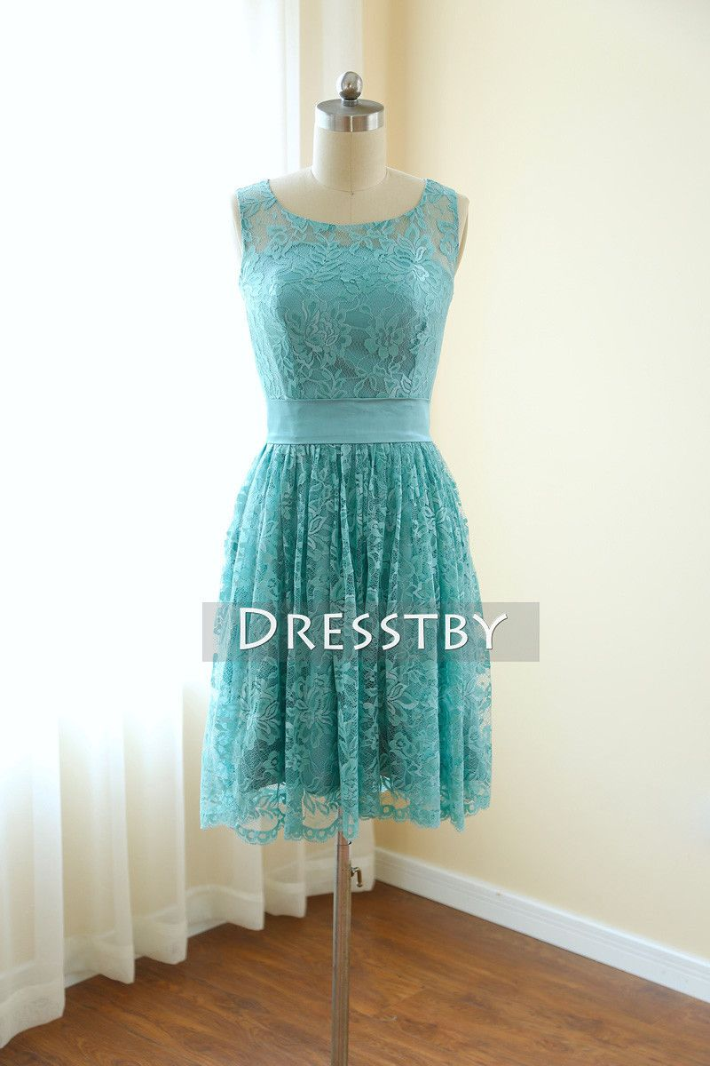 Simple round neck lace green short prom dress green bridesmaid