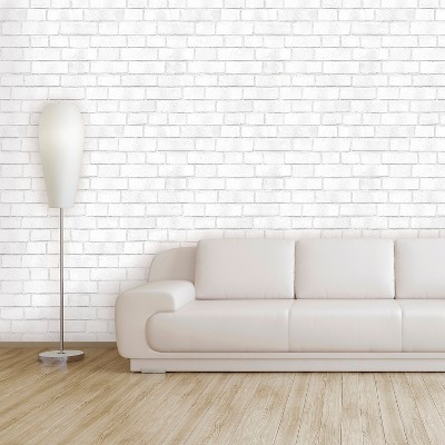 Devine Color Textured Brick Peel & Stick Wallpaper White