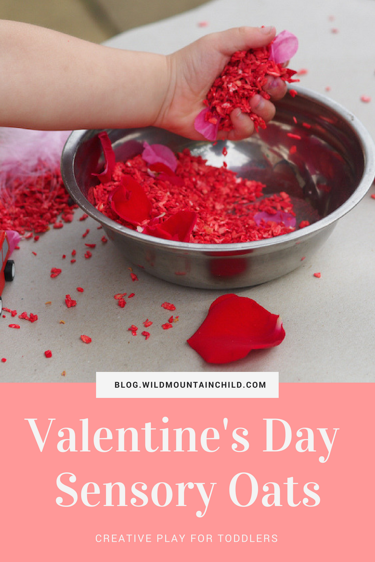 Quick and Easy Coloured Sensory Oats for Valentine's Day Sensory Play table