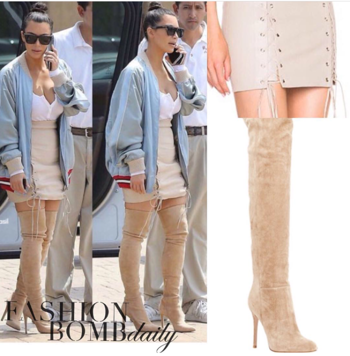 Kim Kardashian Perfext Lace Up Skirt Gucci Bomber Gianvito