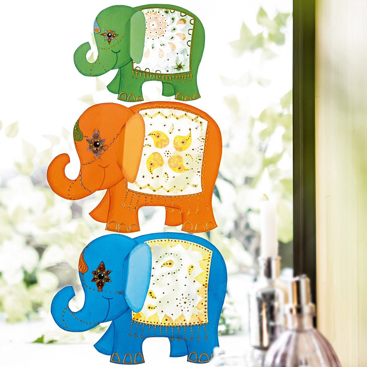 Fensterbilder elefanten jako o bastelset f r 3 st ck for Fensterbilder kinderzimmer