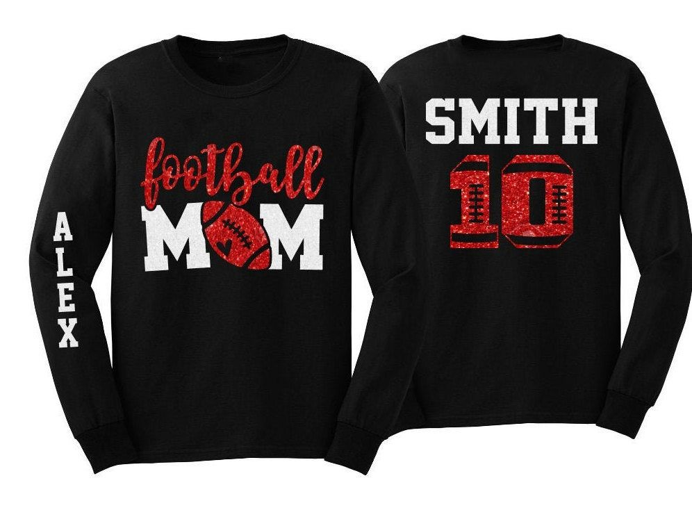 Football Mom Shirt | Glitter Football Long Sleeve