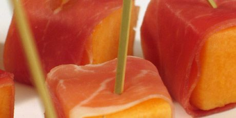 Perfect summer appie... prosciutto wrapped cantaloupe. Thanks Mom!