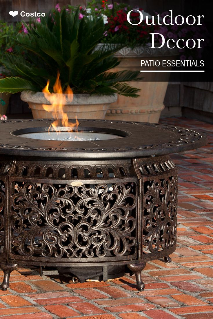 Sedona Cast Aluminum Round Gas Fire Table Propane Fire Pit Table