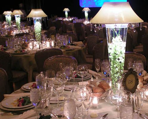 Lighted Vase Lamp Shade (shines Up And Down) White With Crystals $175  (vase. Table CenterpiecesTall ...