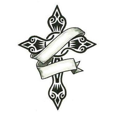 Small Tribal Cross And Banner Tattoo Design Tattoowoo Com Small Tribal Tattoos Tribal Tattoo Designs Cross Drawing