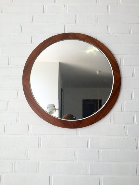 Beautiful Vintage Mirror Teak Mid Century Germany Teak Runde
